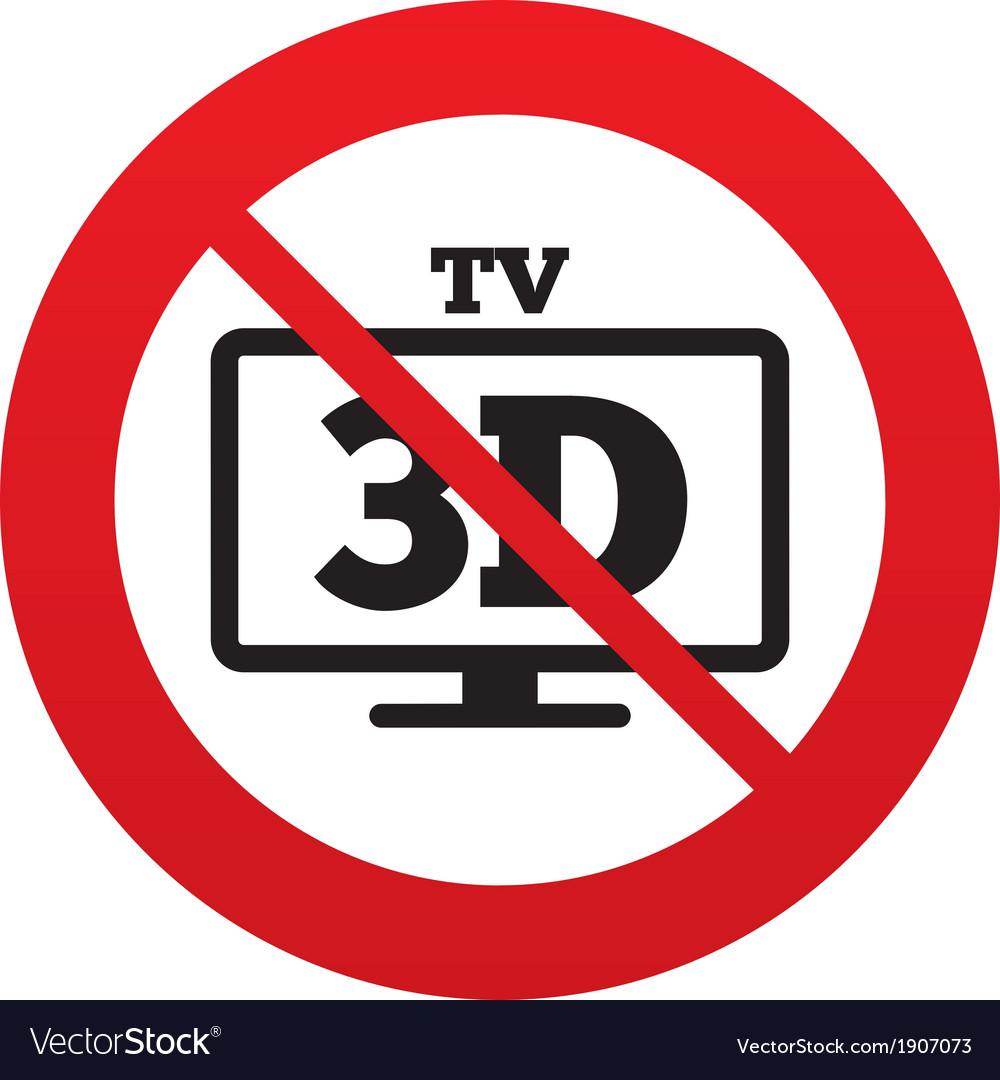 No 3d tv sign icon 3d television set symbol vector | Price: 1 Credit (USD $1)