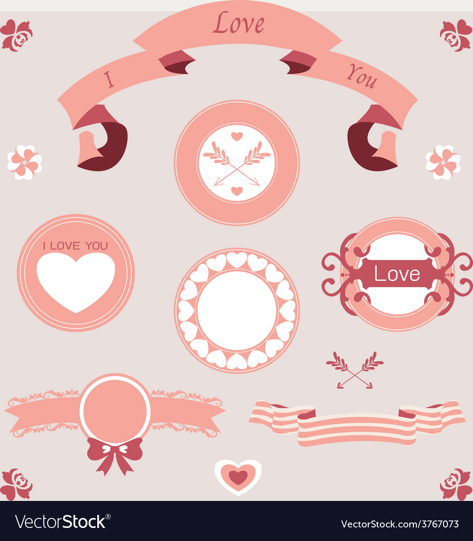 Pink love set ornament vector | Price: 1 Credit (USD $1)