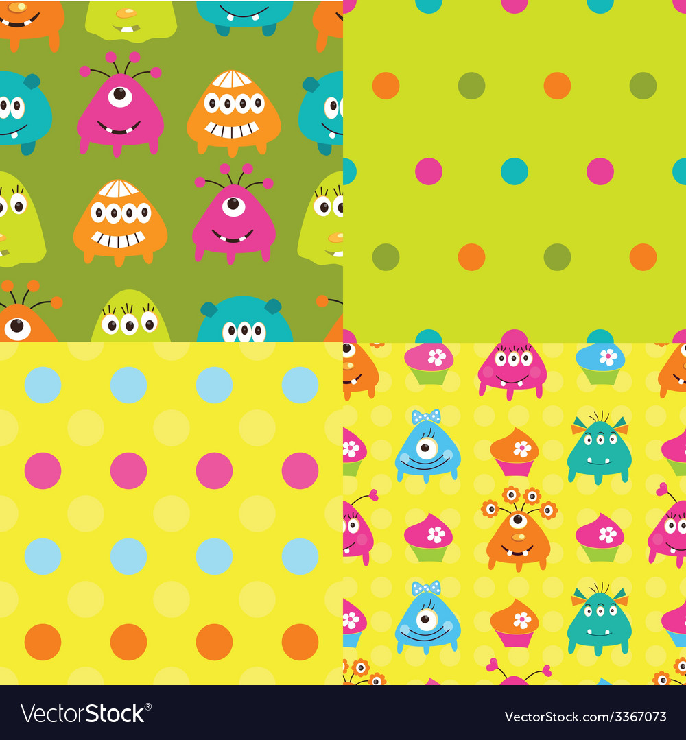 Set of patterns with monsters vector