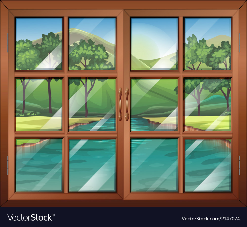 A window near the flowing river vector | Price: 1 Credit (USD $1)
