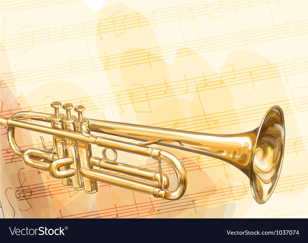 Brass trumpet on musical background vector | Price: 1 Credit (USD $1)