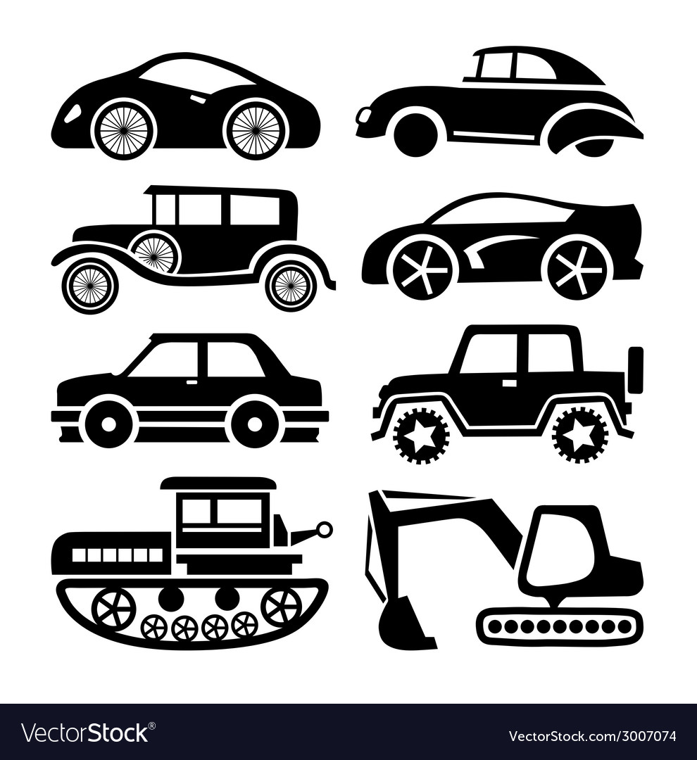 Car icon black transport set vector | Price: 1 Credit (USD $1)
