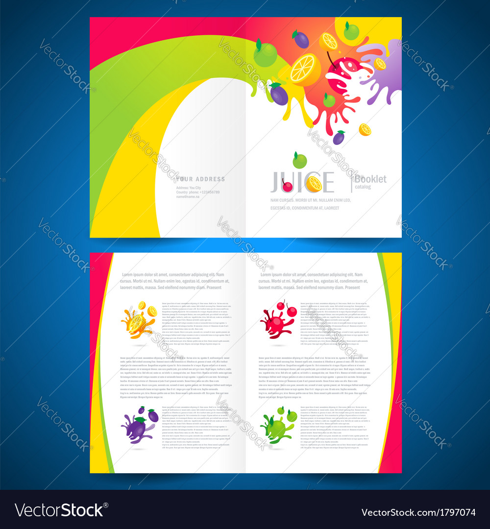 Catalog brochure folder fruit juice liquid splash vector | Price: 1 Credit (USD $1)