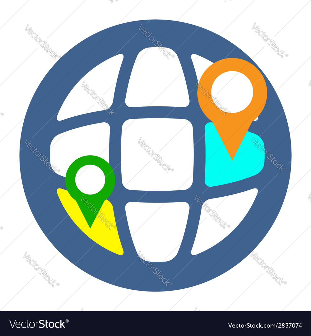 Geo targeting icon flat style isolated in colored vector | Price: 1 Credit (USD $1)