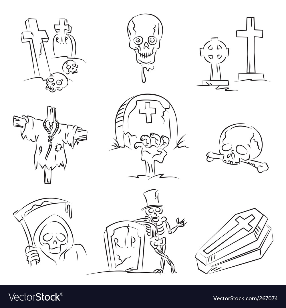 Halloween cemetery vector | Price: 1 Credit (USD $1)