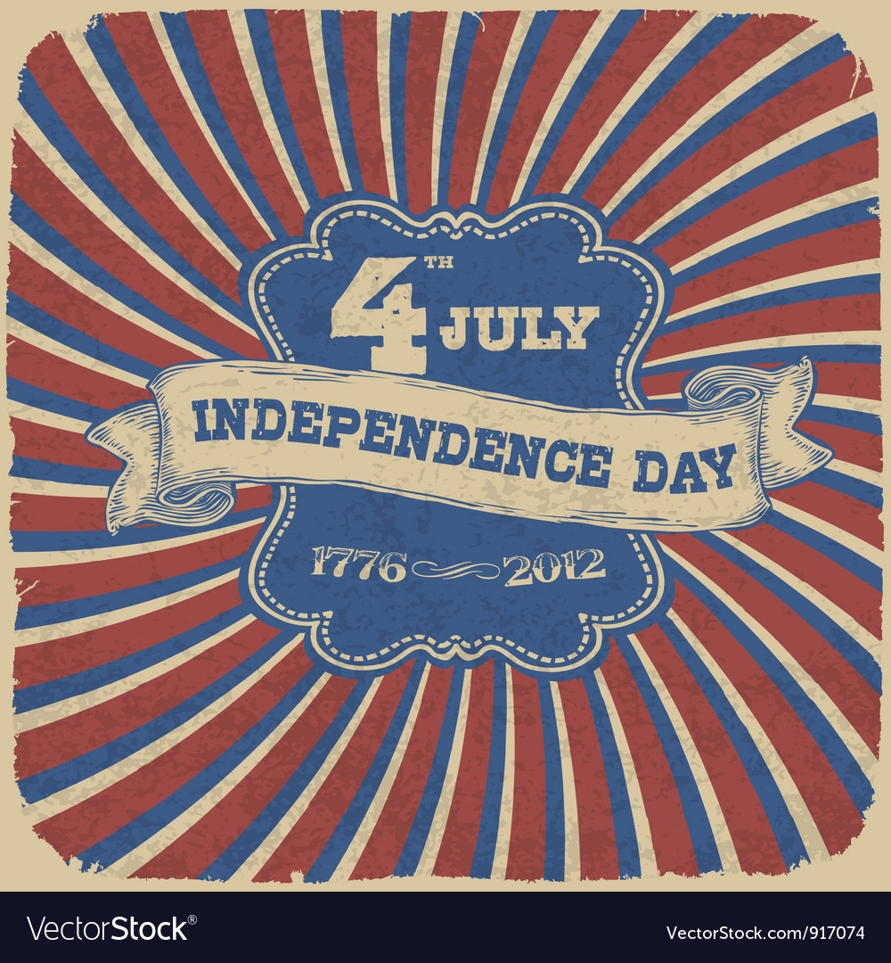 Independence day retro style vector | Price: 1 Credit (USD $1)