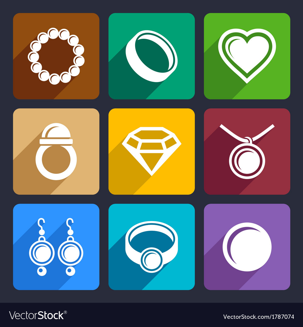 Jewelry flat icons set 33 vector | Price: 1 Credit (USD $1)