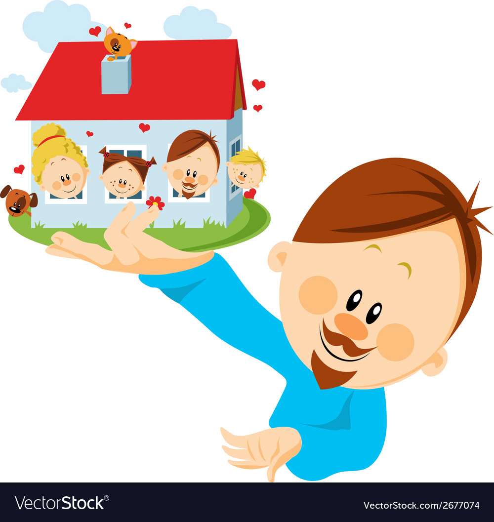 Man with house vector   Price: 1 Credit (USD $1)