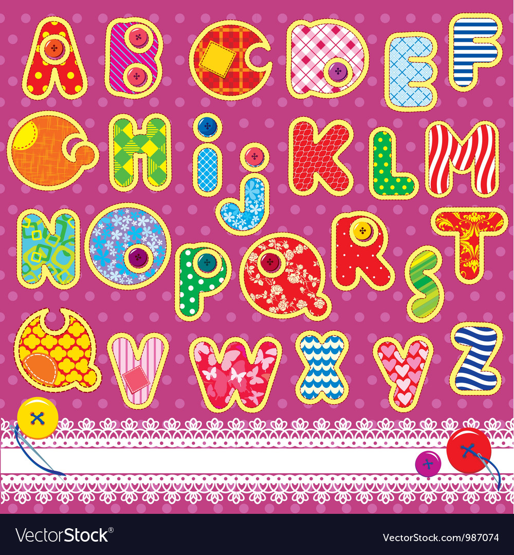 Patchwork abc alphabet vector | Price: 1 Credit (USD $1)