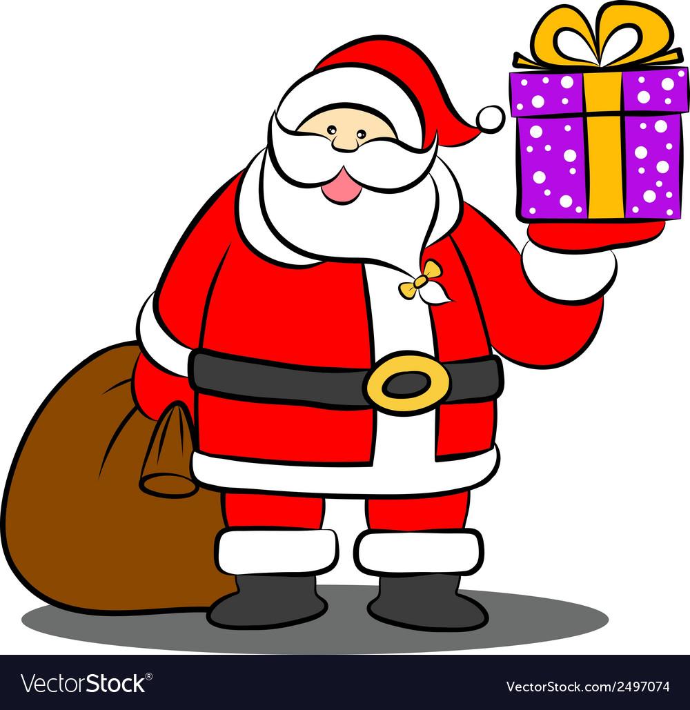 Santa claus holding a gift box vector   Price: 1 Credit (USD $1)