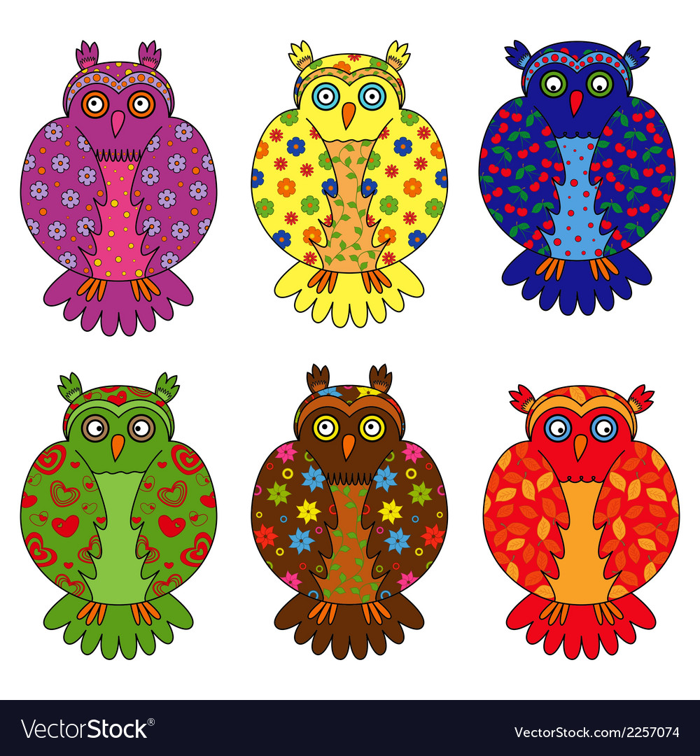 Set of six stylized owls vector | Price: 1 Credit (USD $1)