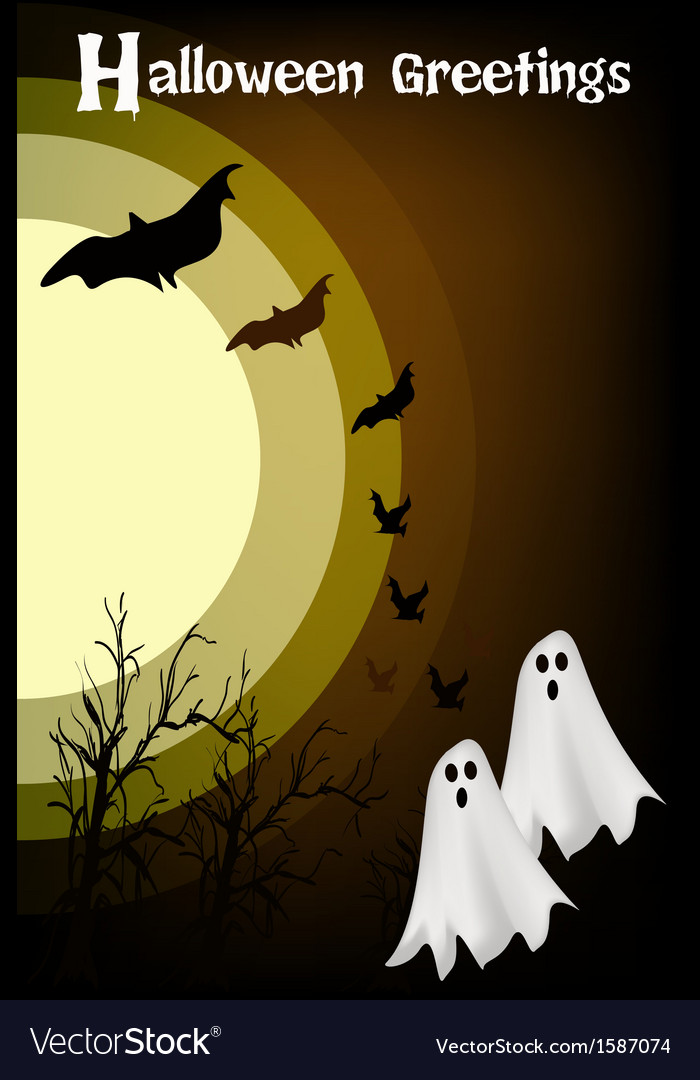 Two happy halloween ghost on night background vector | Price: 1 Credit (USD $1)