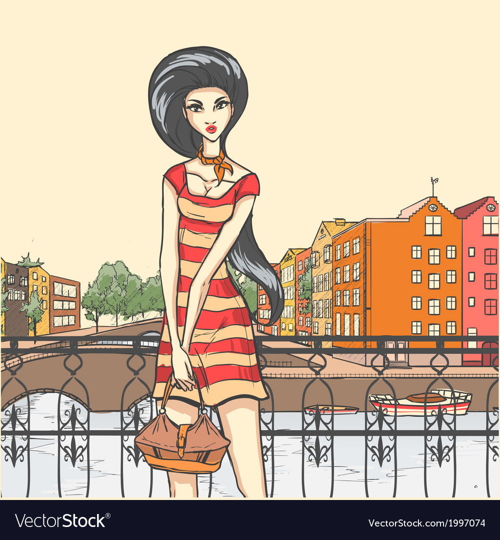 Urban panorama and pretty girl vector   Price: 1 Credit (USD $1)