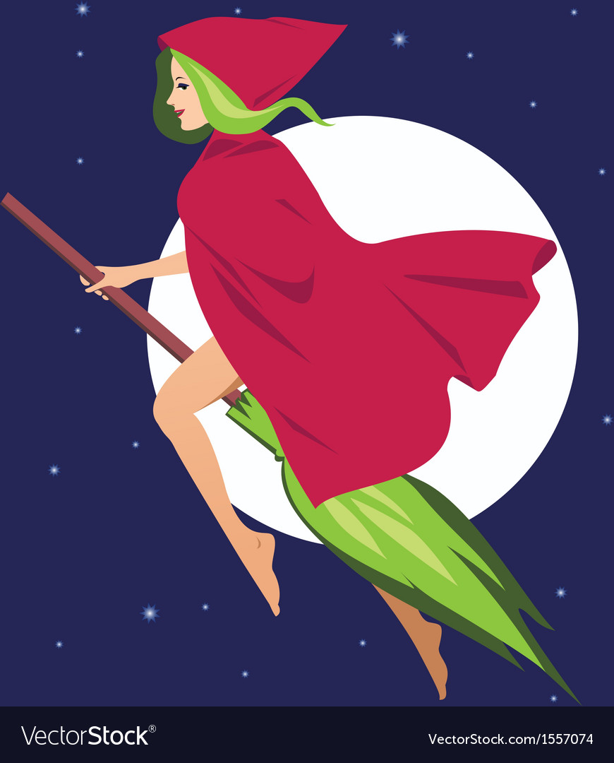 Witch on a broom vector   Price: 1 Credit (USD $1)