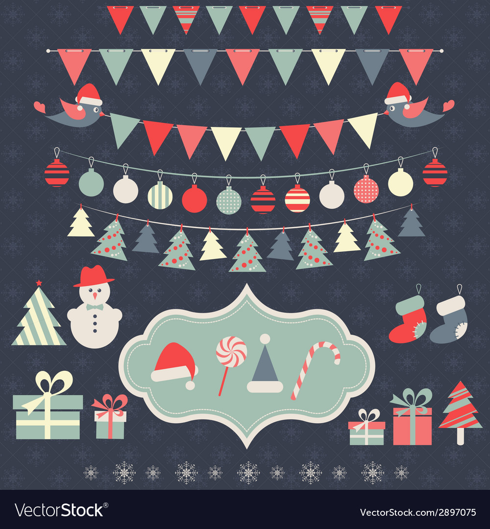 Christmas elements set vector | Price: 1 Credit (USD $1)