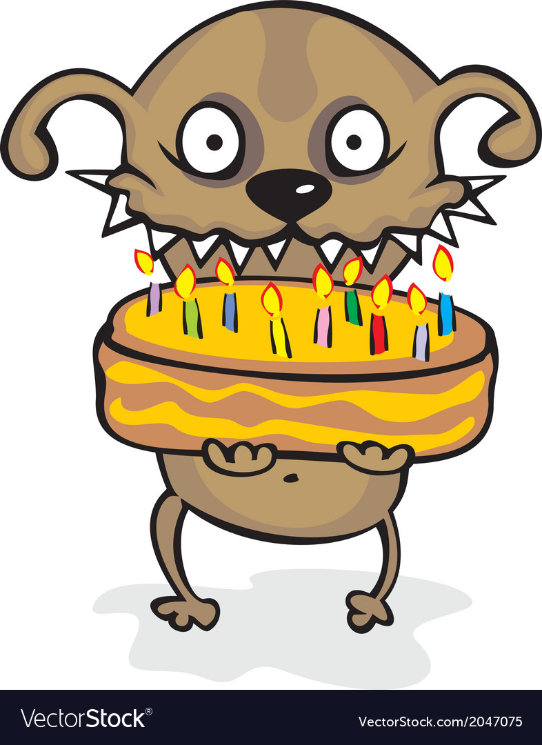 Dog with a pie without any background vector | Price: 1 Credit (USD $1)
