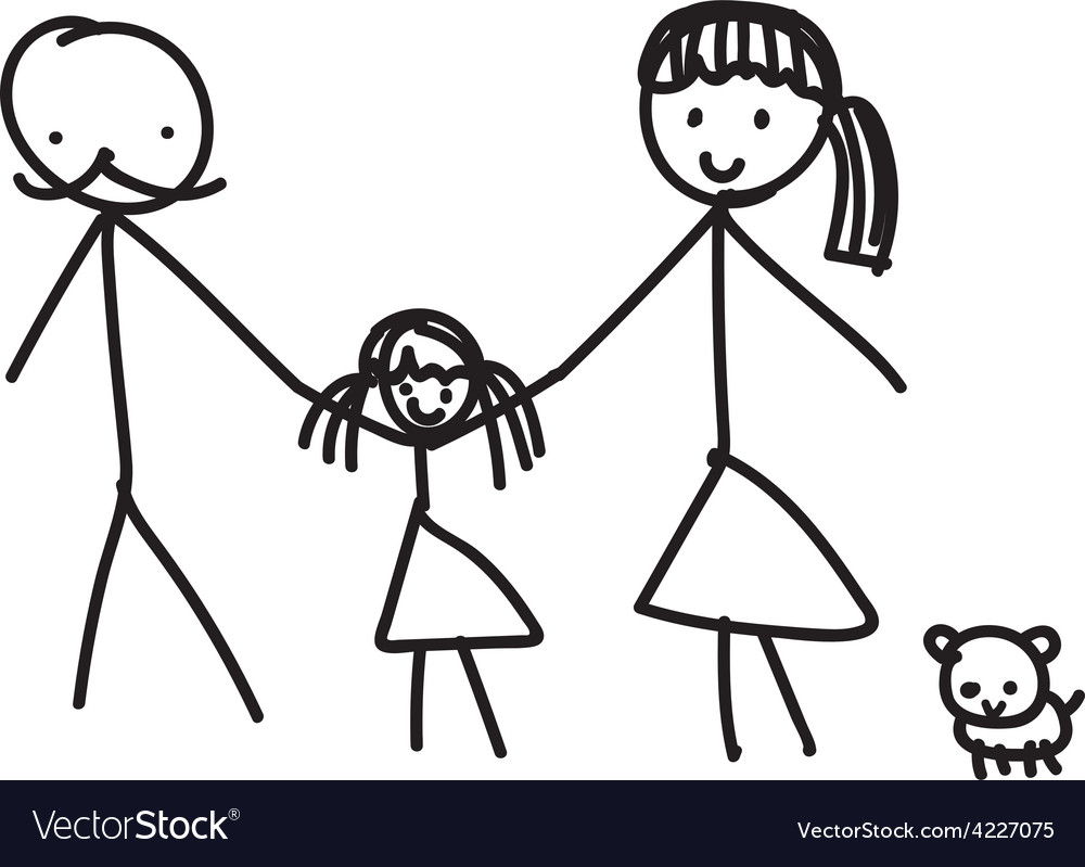 Hand line drawing of a family parents father vector | Price: 1 Credit (USD $1)