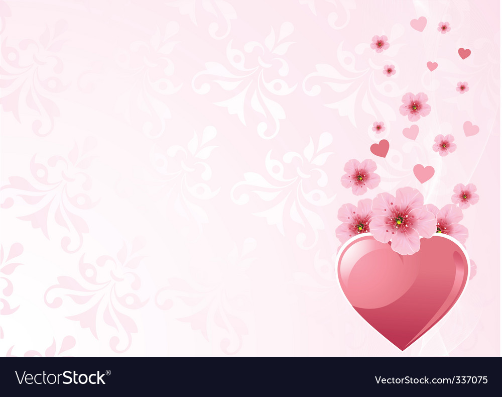 Love heart and cherry blossom vector | Price: 1 Credit (USD $1)
