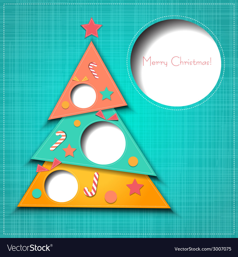 Merry christmas paper greeting card vector | Price: 1 Credit (USD $1)