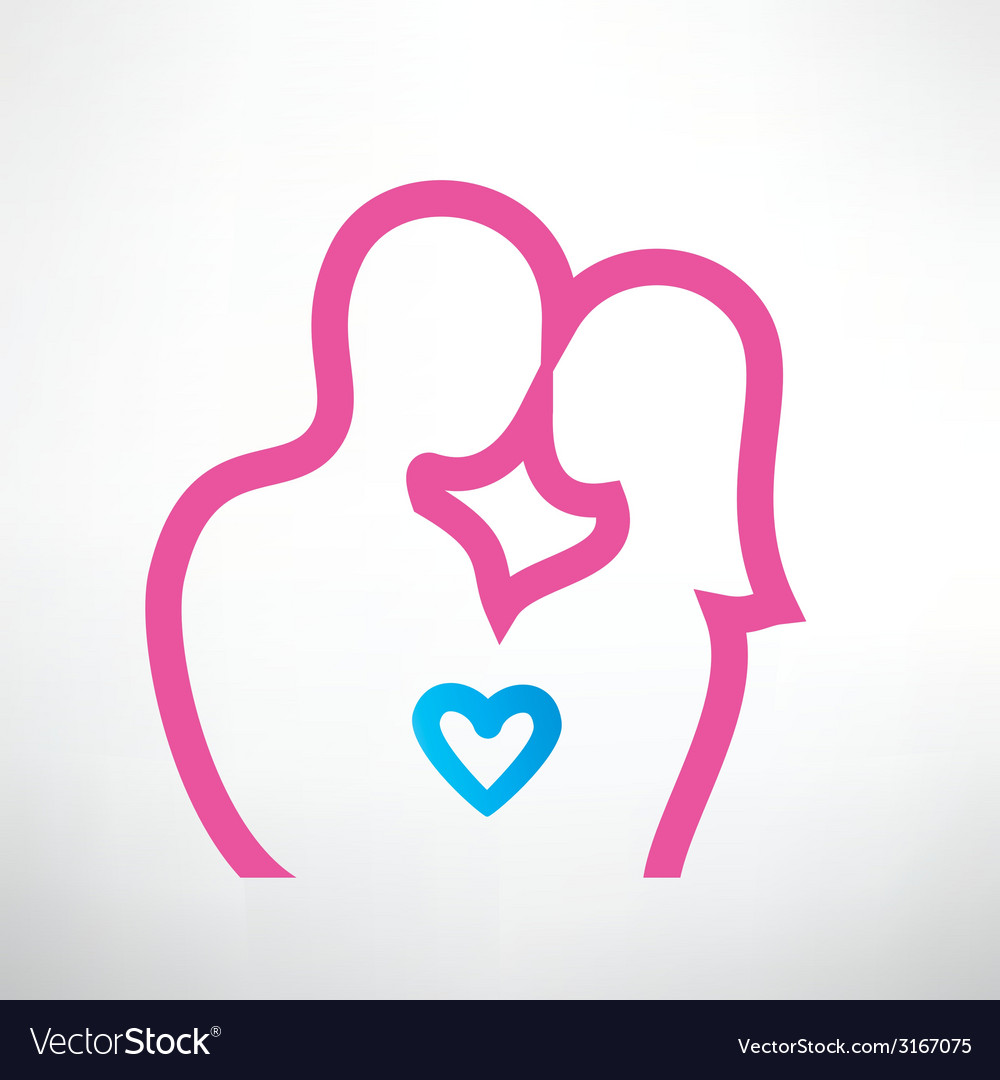 Romantic couple in love outlined symbol vector | Price: 1 Credit (USD $1)