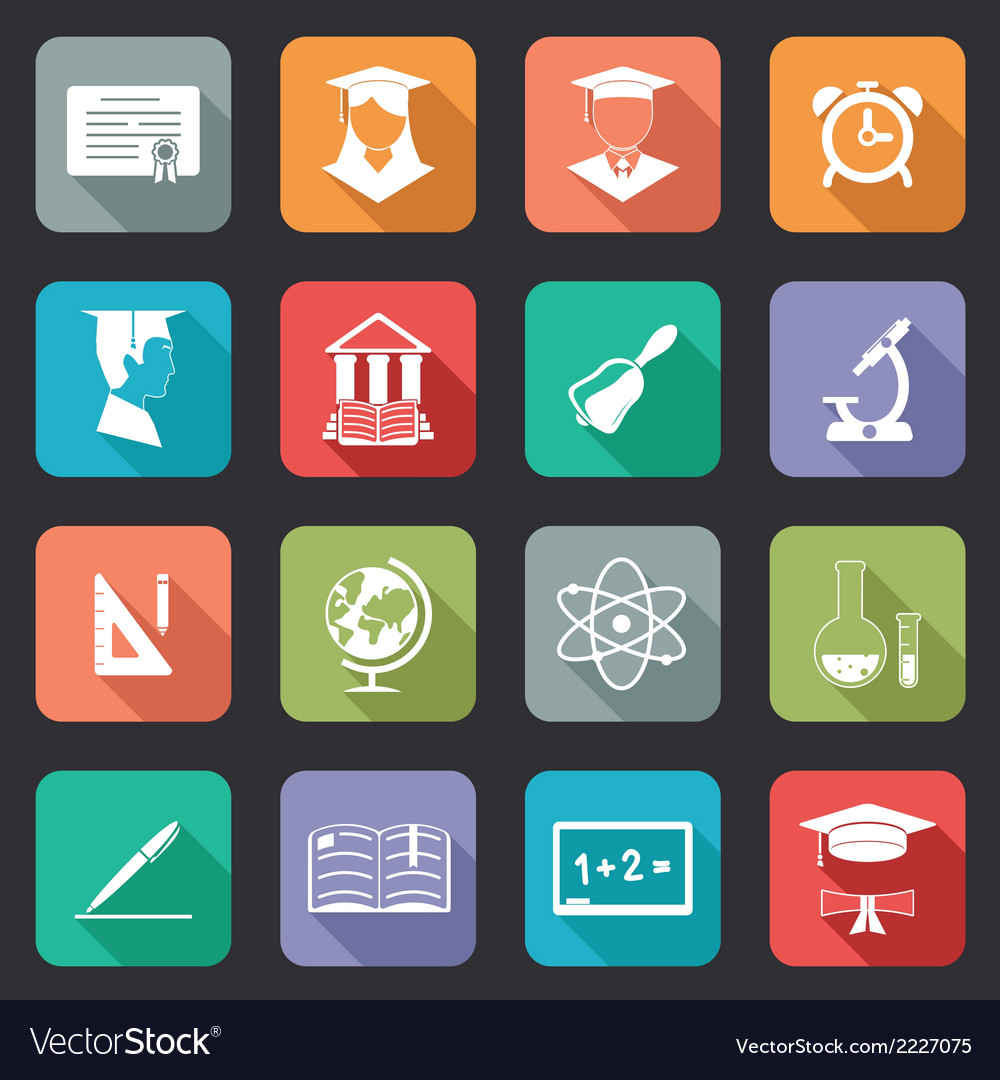 Set of flat school and education icons vector | Price: 1 Credit (USD $1)