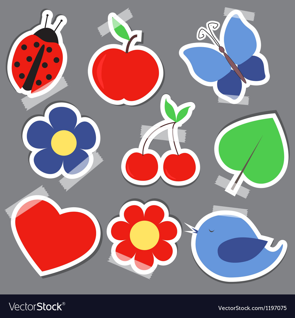 Set og elements for scrapbooking bird flower heart vector | Price: 1 Credit (USD $1)