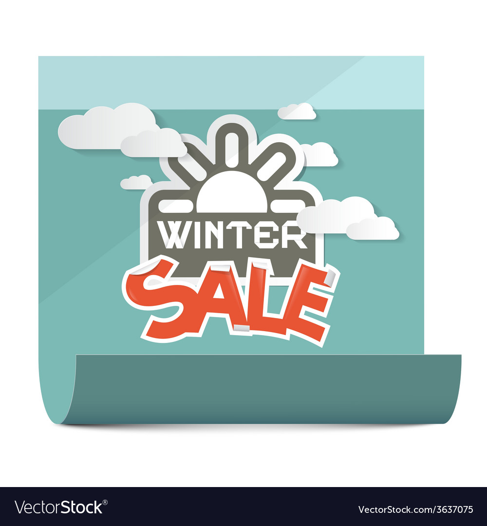 Winter sale on paper sheet isolated on white vector | Price: 1 Credit (USD $1)