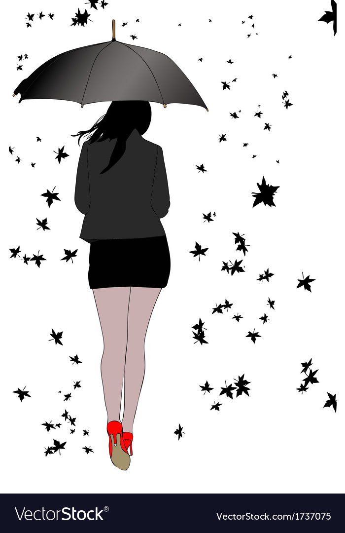 Woman with umbrella wind and leaves vector | Price: 1 Credit (USD $1)