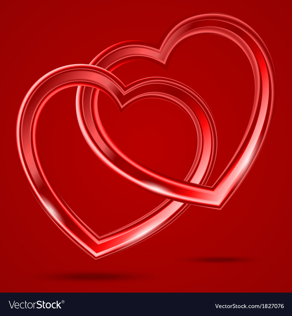 Abstract two shiny hearts shapes vector | Price: 1 Credit (USD $1)