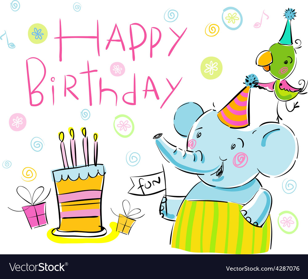 Birthday elephant and a parrot vector | Price: 1 Credit (USD $1)