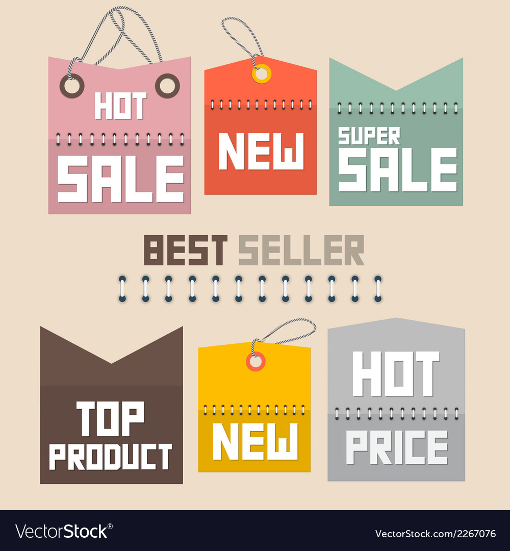 Colorful retro paper sale labels tags set - vector | Price: 1 Credit (USD $1)