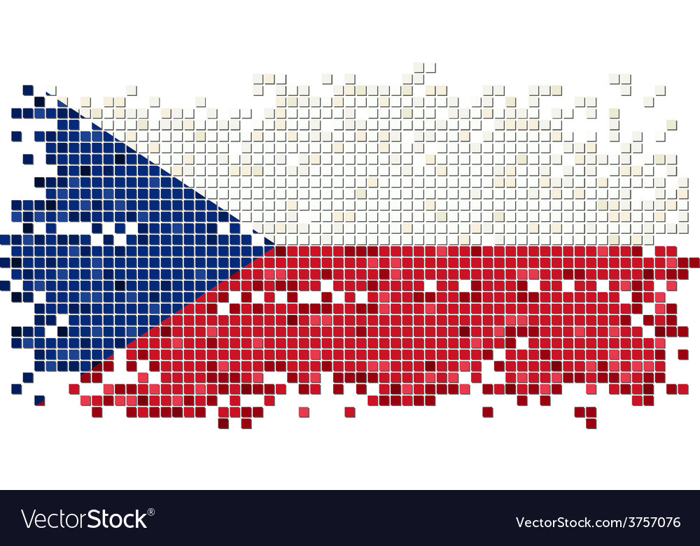 Czech grunge tile flag vector | Price: 1 Credit (USD $1)