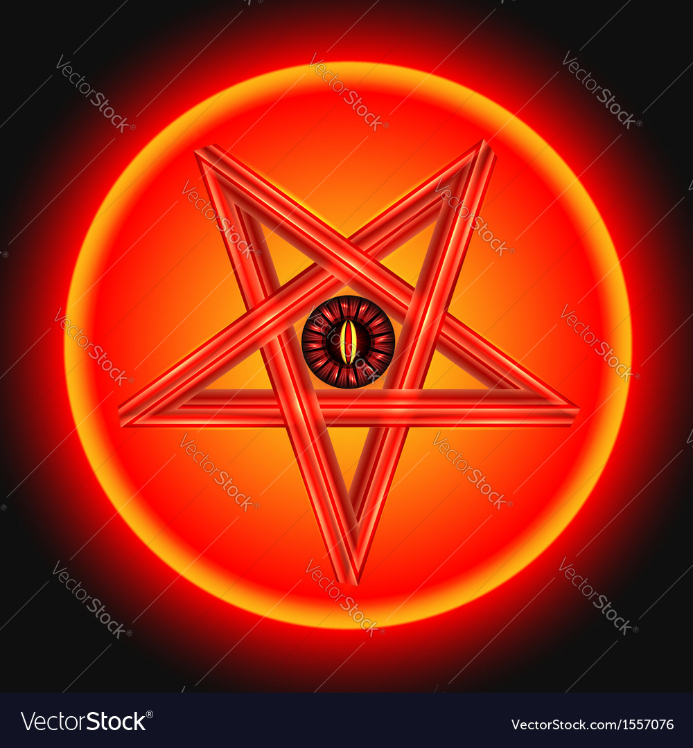The eye of satan in the metal pentagram vector | Price: 1 Credit (USD $1)
