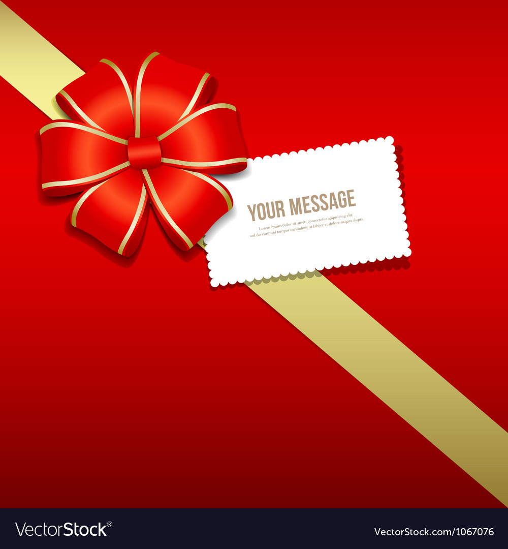 Gift box gold and red ribbons white card vector | Price: 1 Credit (USD $1)
