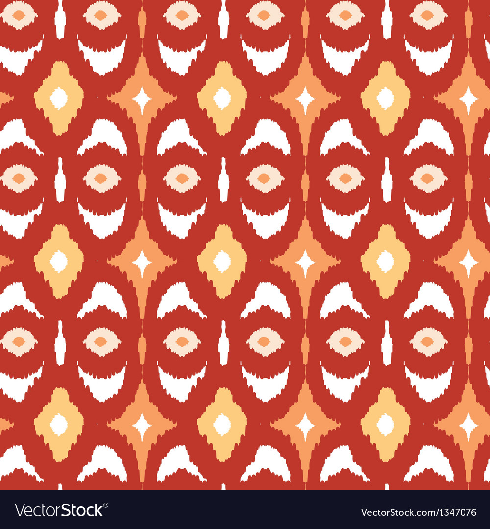 Red and gold ikat geometric seamless pattern vector | Price: 1 Credit (USD $1)