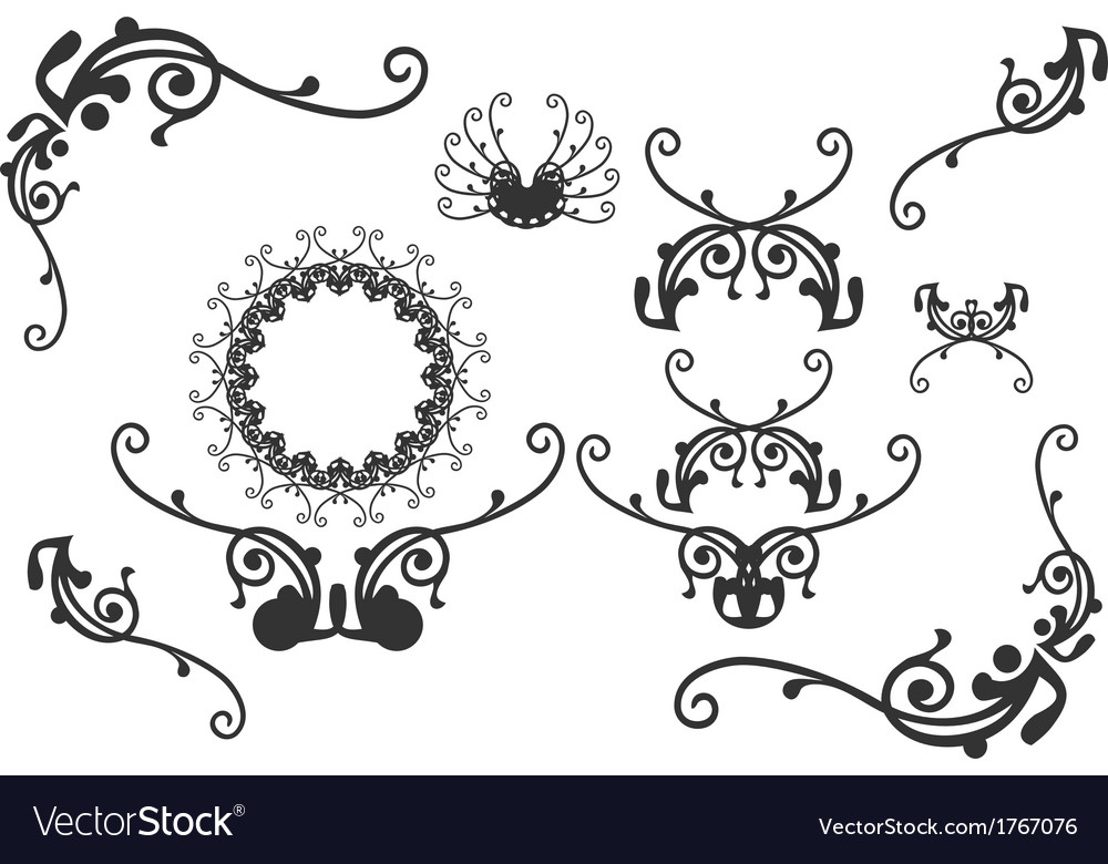 Retro floral graphic design elements vector | Price: 1 Credit (USD $1)