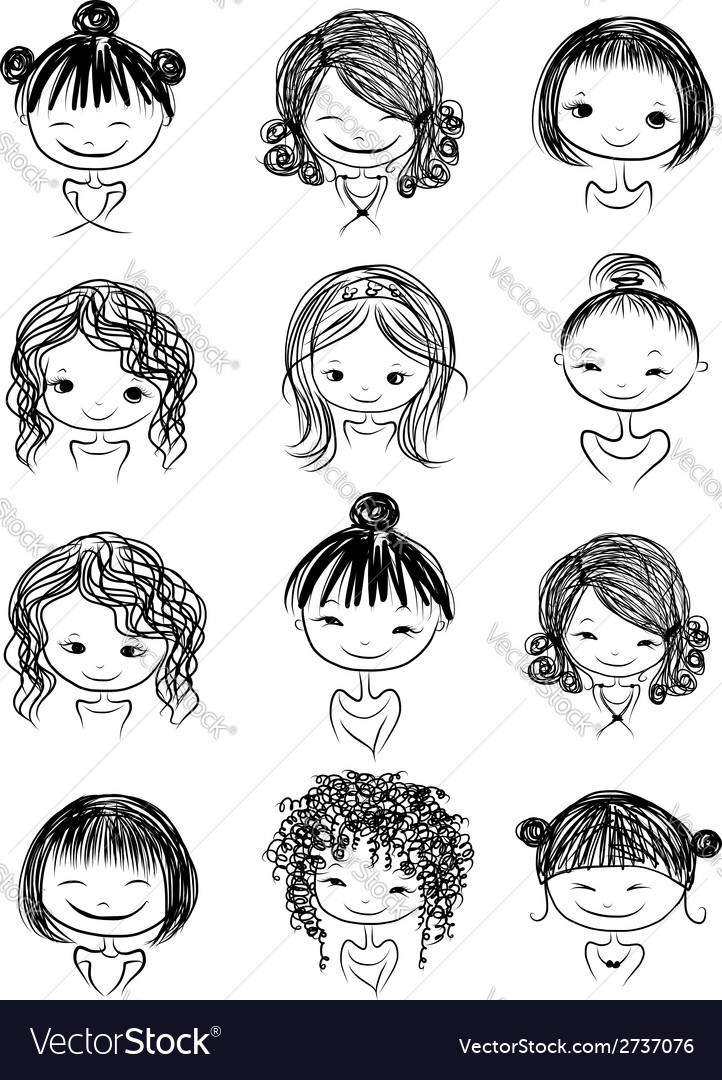 Set of cute girl characters cartoon for your vector | Price: 1 Credit (USD $1)