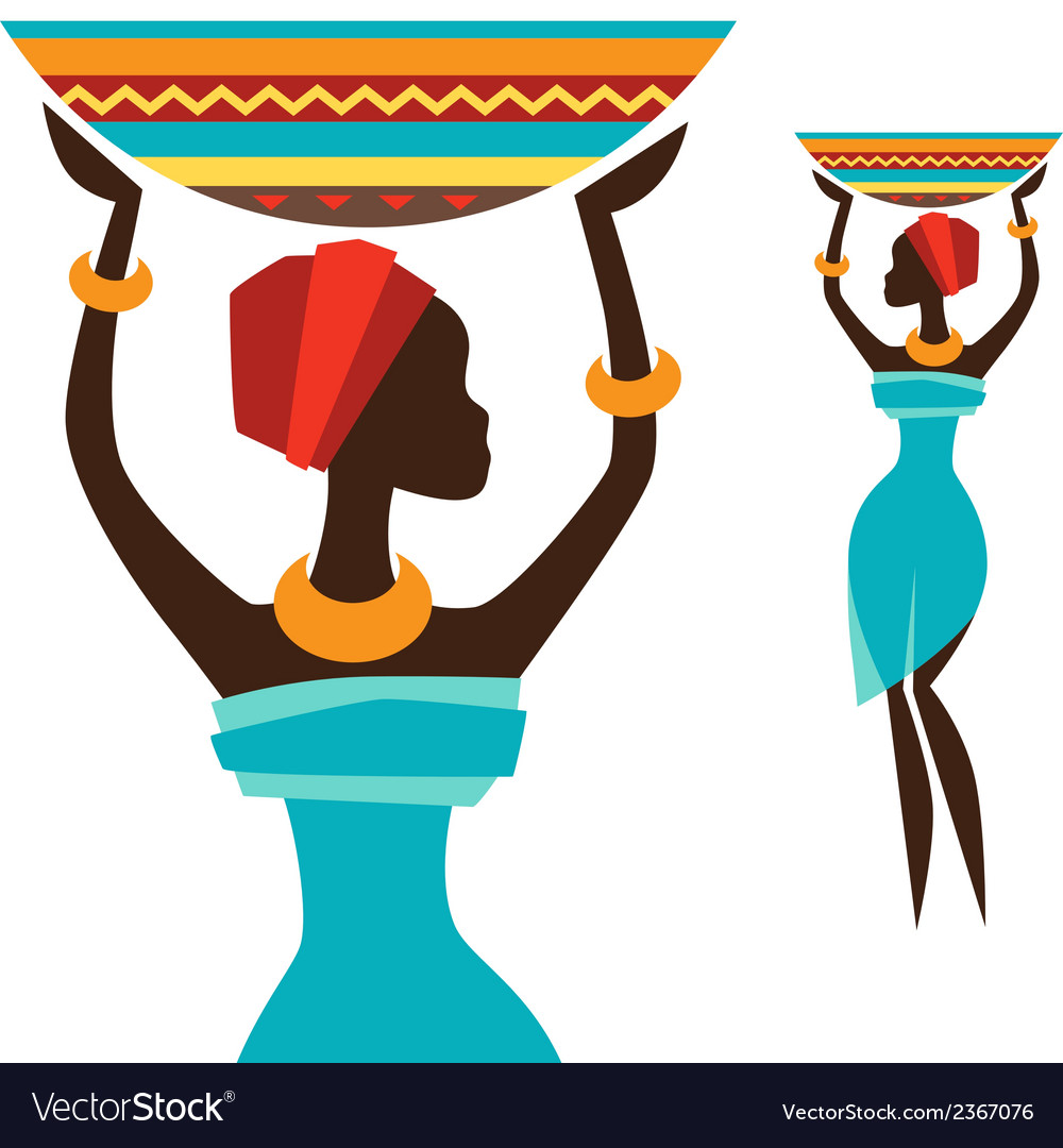 Silhouette of african girl which carries basket vector | Price: 1 Credit (USD $1)