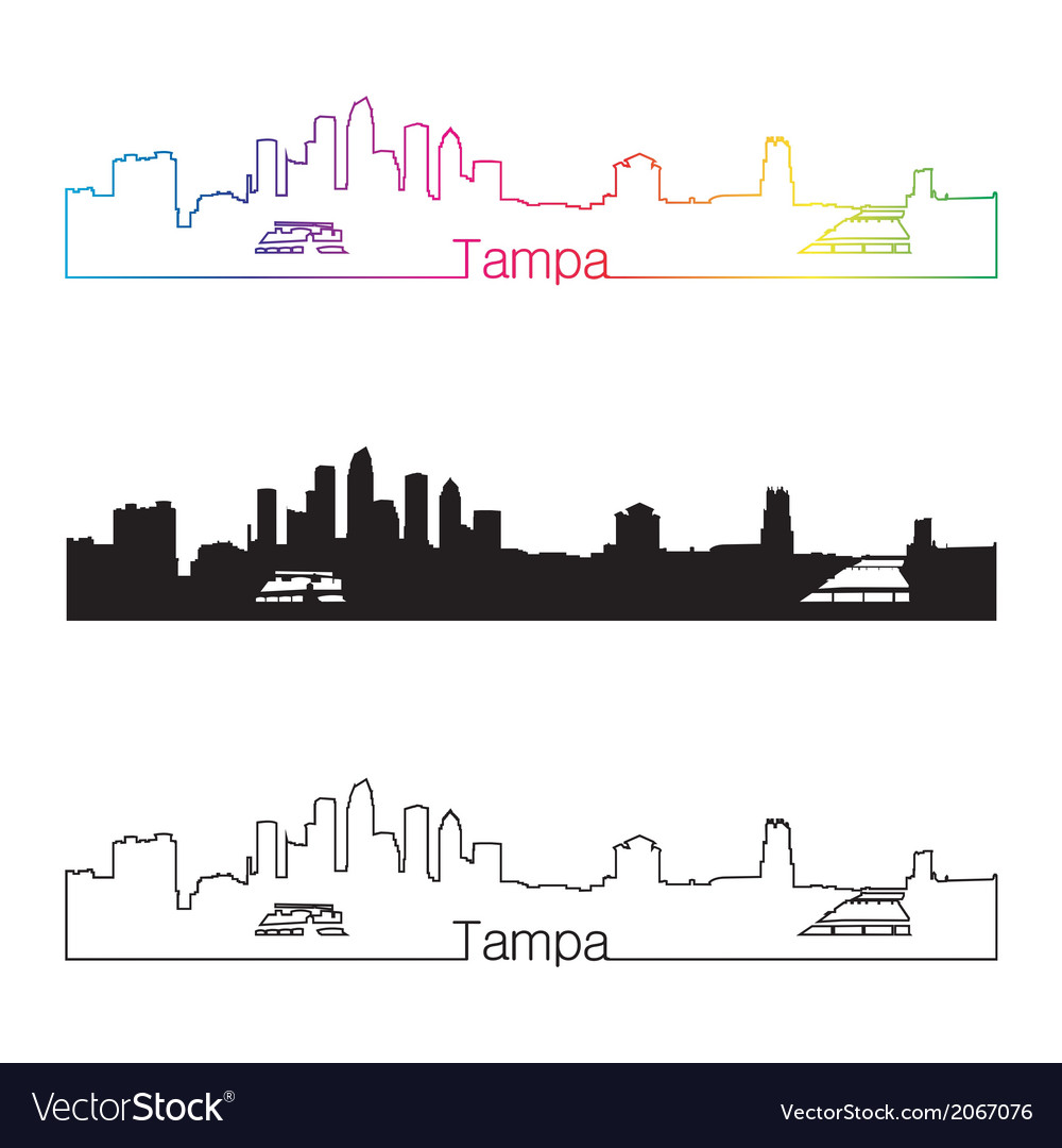 Tampa skyline linear style with rainbow vector | Price: 1 Credit (USD $1)