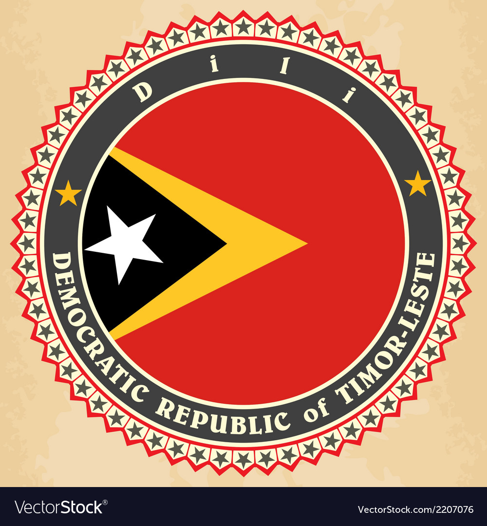 Vintage label cards of east timor flag vector | Price: 1 Credit (USD $1)