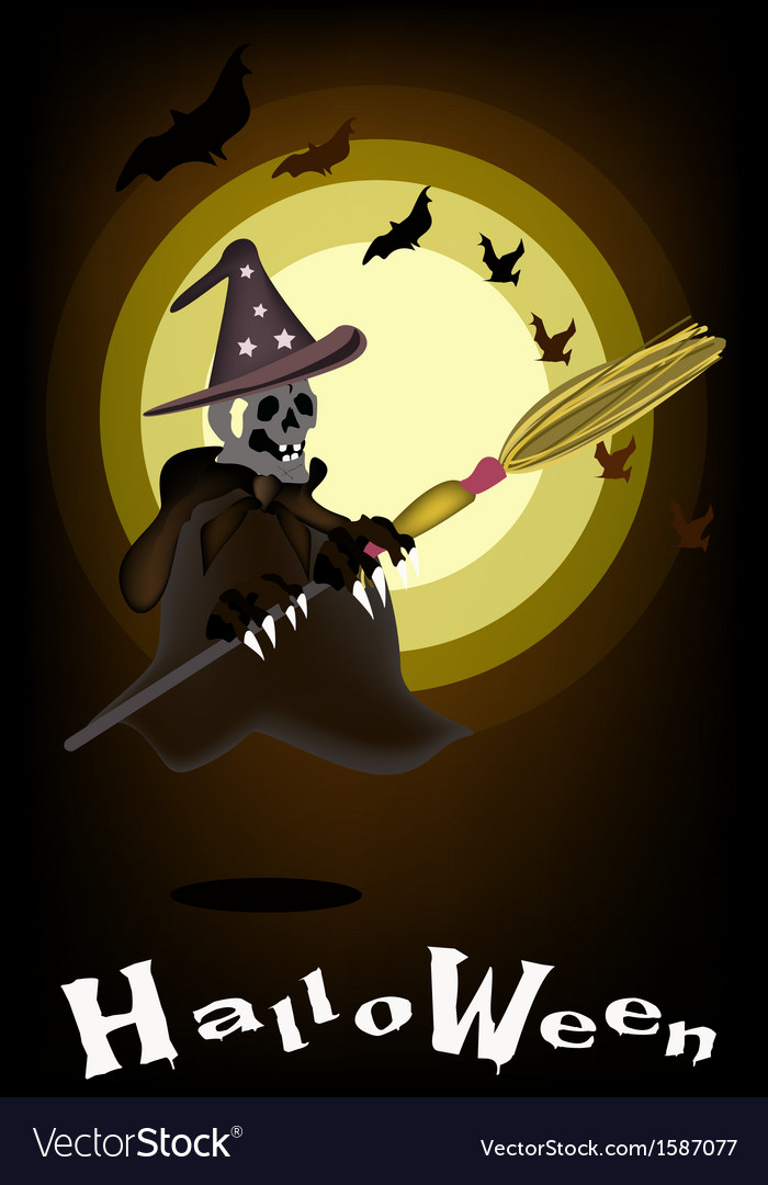 A halloween ghost witch on night background vector | Price: 1 Credit (USD $1)
