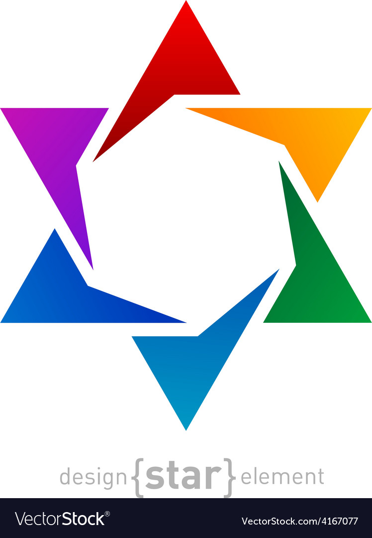 Abstract design element rainbow star on white vector | Price: 1 Credit (USD $1)