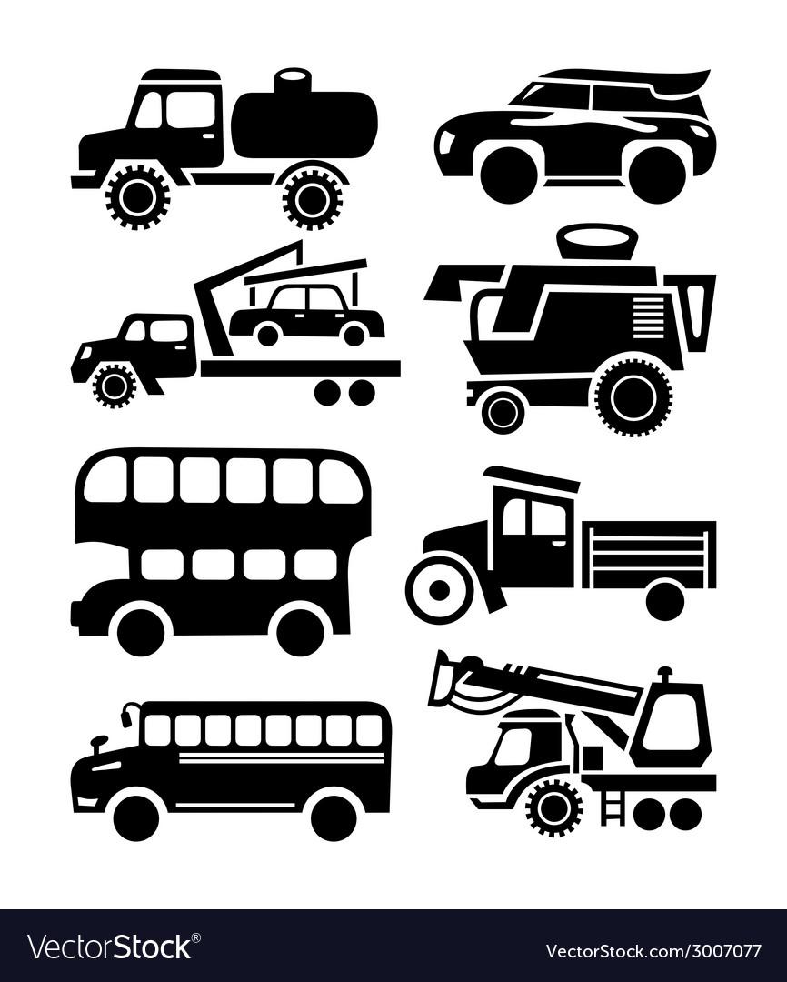 Car icon black transport set vector | Price: 1 Credit (USD $1)