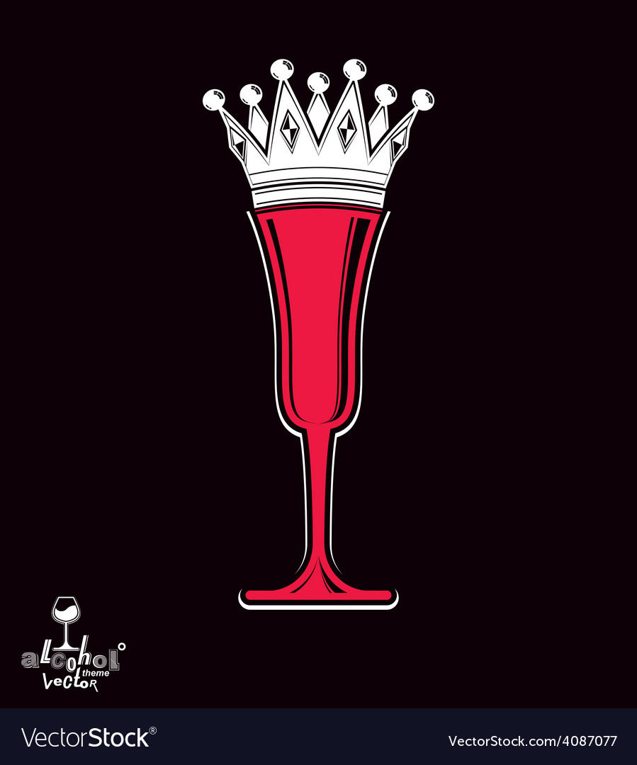 Champagne glass with imperial crown decorative vector | Price: 1 Credit (USD $1)