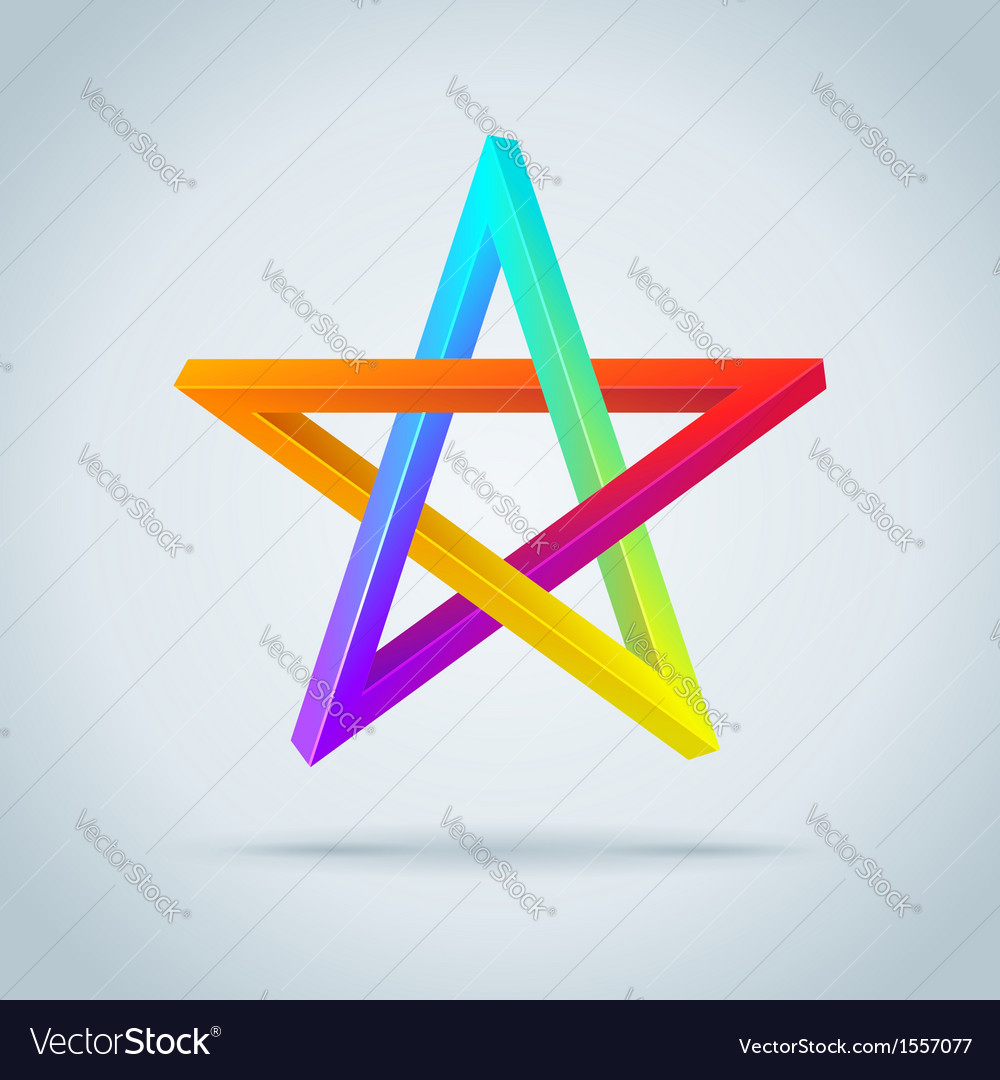 Colorful inconceivable pentagram vector | Price: 1 Credit (USD $1)