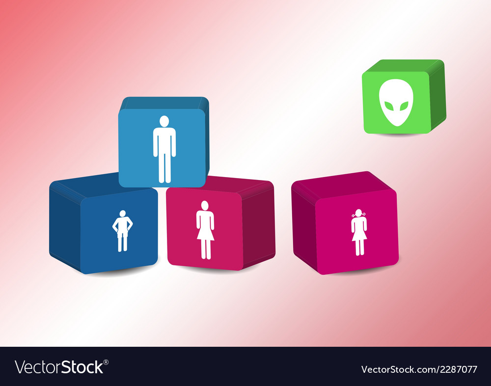 Cubes with family silhouettes vector | Price: 1 Credit (USD $1)