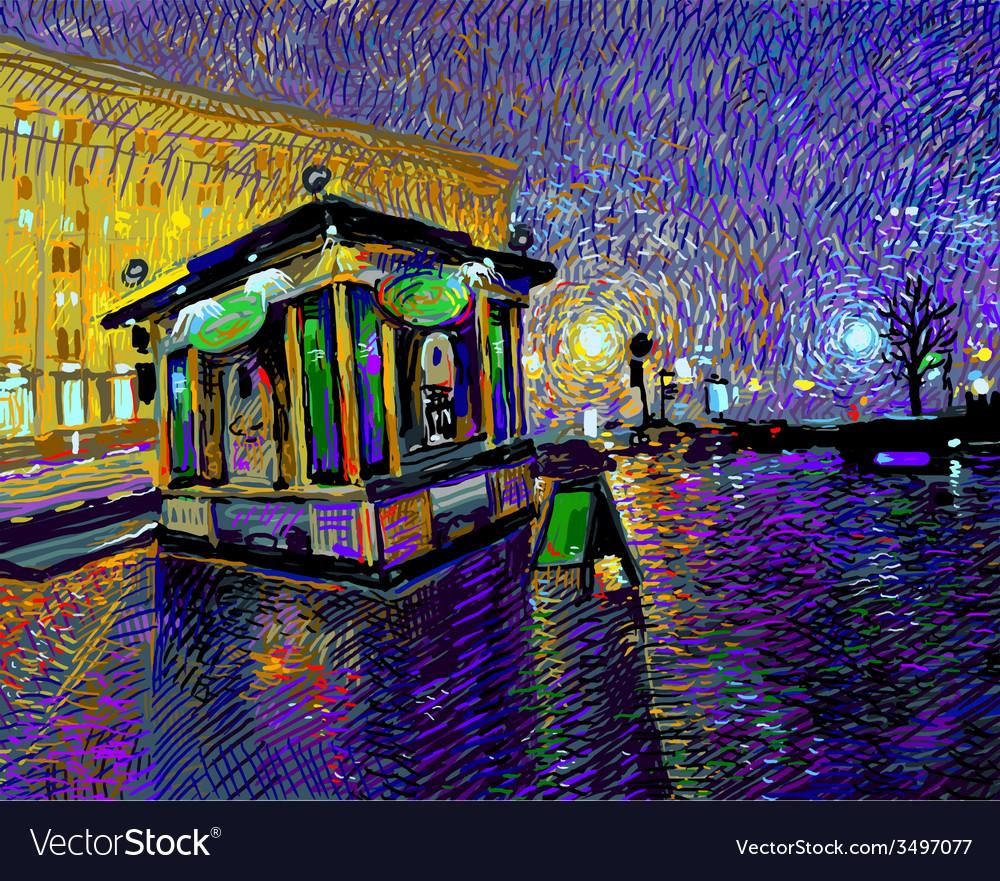 Digital painting of night kyiv city vector   Price: 5 Credit (USD $5)