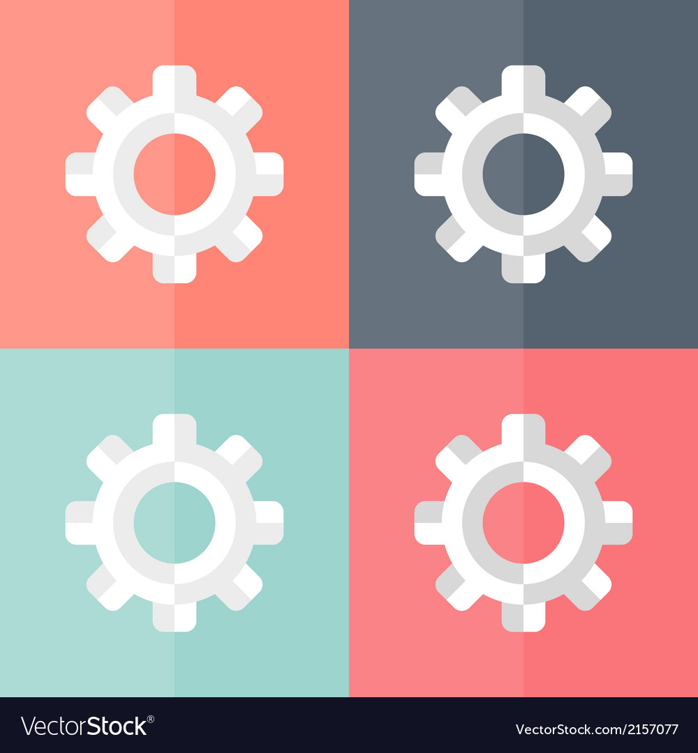 Gear flat icons set vector | Price: 1 Credit (USD $1)