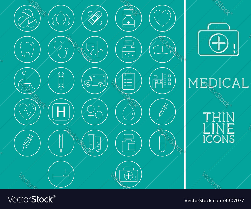Outlined medical and healtcare icons set vector | Price: 1 Credit (USD $1)
