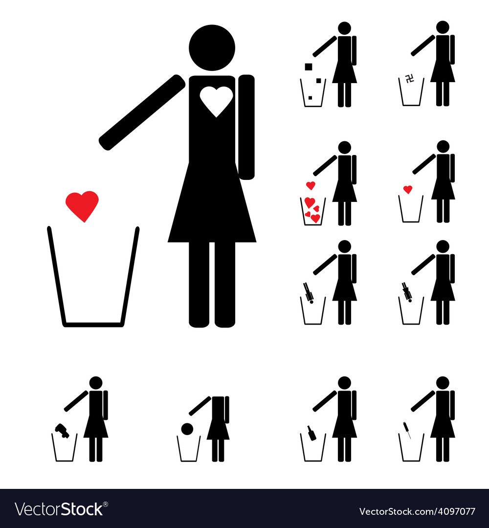Set of eleven woman figures throwing in the trash vector | Price: 1 Credit (USD $1)